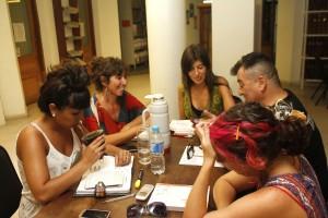 Jorge Villegas ( Zeppelin Teatro),  Ximena Cabral ( Sec. Cultura Cispren), Florencia Ordoñez (Espacio de Memoria La Perla), Florencia Gordillo y Myriam Mohaded (Centro de Documentación)